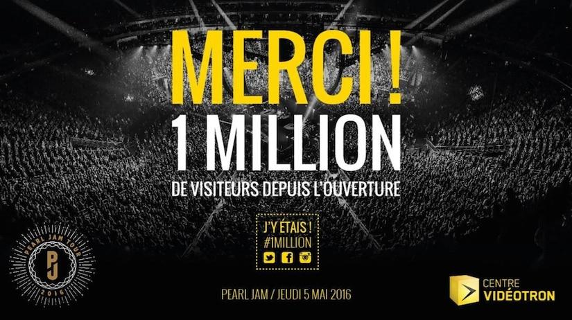 Le Centre Vidéotron accueille son millionième visiteur