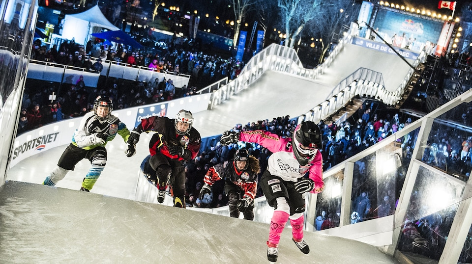 Jacqueline Legere of Canada, Sydney O'Keefe of the United States, Maxie Plante of Canada and Elaine Topolnisky of Canada compete during the semi finals of Women of the first stage of the Ice Cross Downhill World Championship at the Red Bull Crashed Ice in Quebec City, Canada on November 28, 2015. // Joerg Mitter / Red Bull Content Pool // P-20151129-00157 // Usage for editorial use only // Please go to www.redbullcontentpool.com for further information. //
