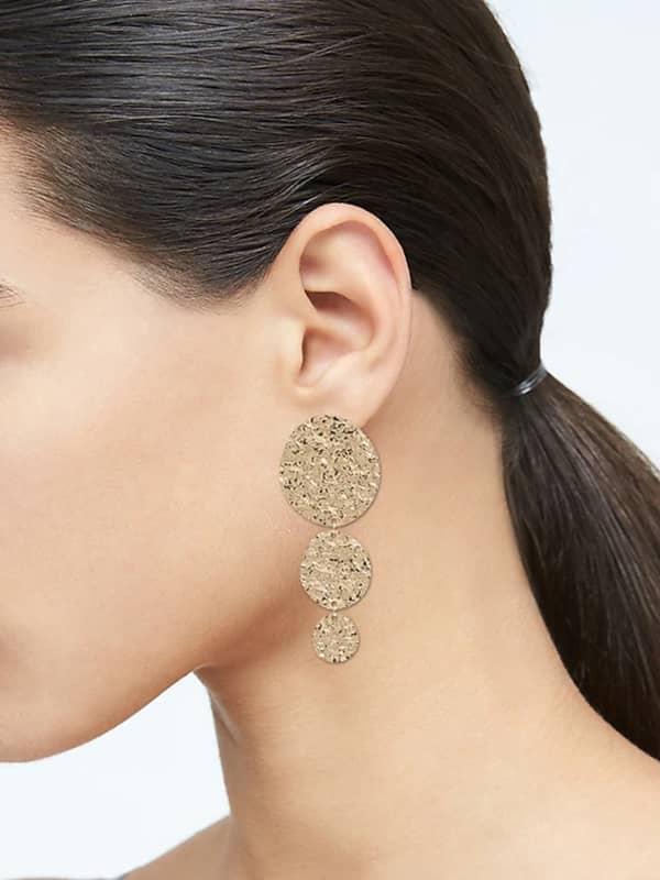 Pendants d'oreille circulaires en métal texturé