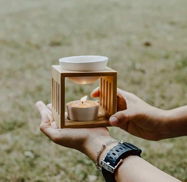 Brûleur de cire en bambou avec bol en céramique