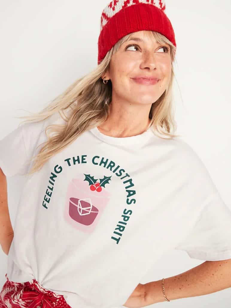 T-shirt décontracté à imprimé de Noël, coupe ample Old Navy