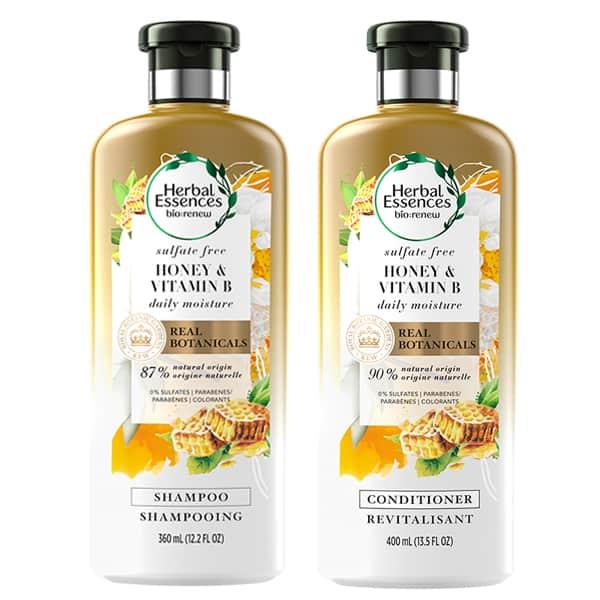 Shampooing et revitalisant sans sulfates, au miel et à la vitamine B, d'Herbal Essences