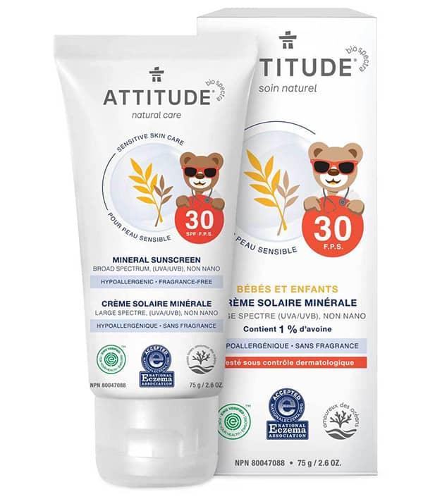 Crème solaire minérale Attitude