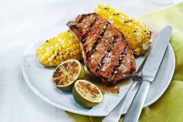 Lemongrass Pork Chops with Ginger-Butter Corn