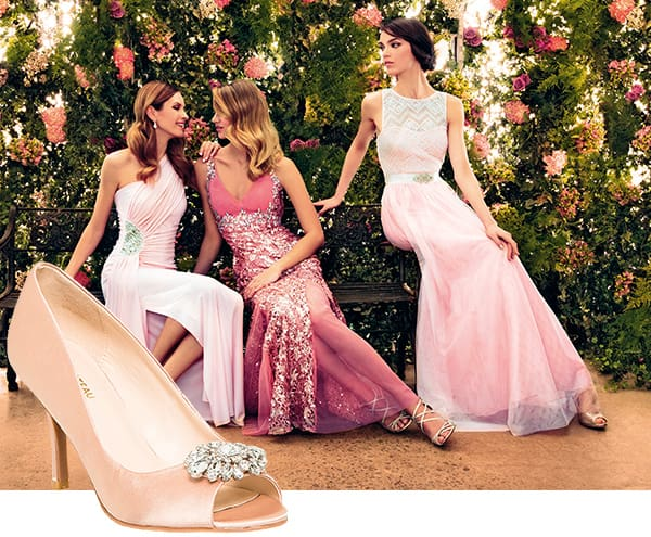 An image of models wearing Le Chateau dresses.