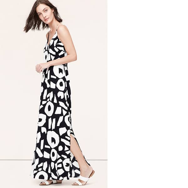 Black and white Loft maxi dress