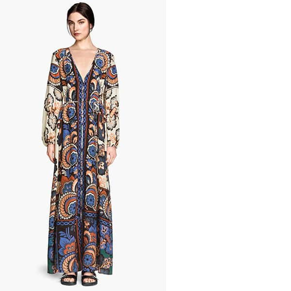 Patterned long-sleeved maxi dress