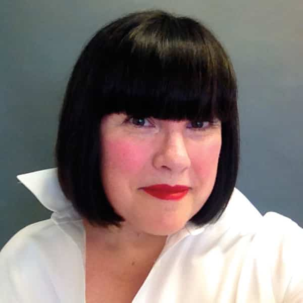 An image of Jennifer Thompson and her blunt black bangs.