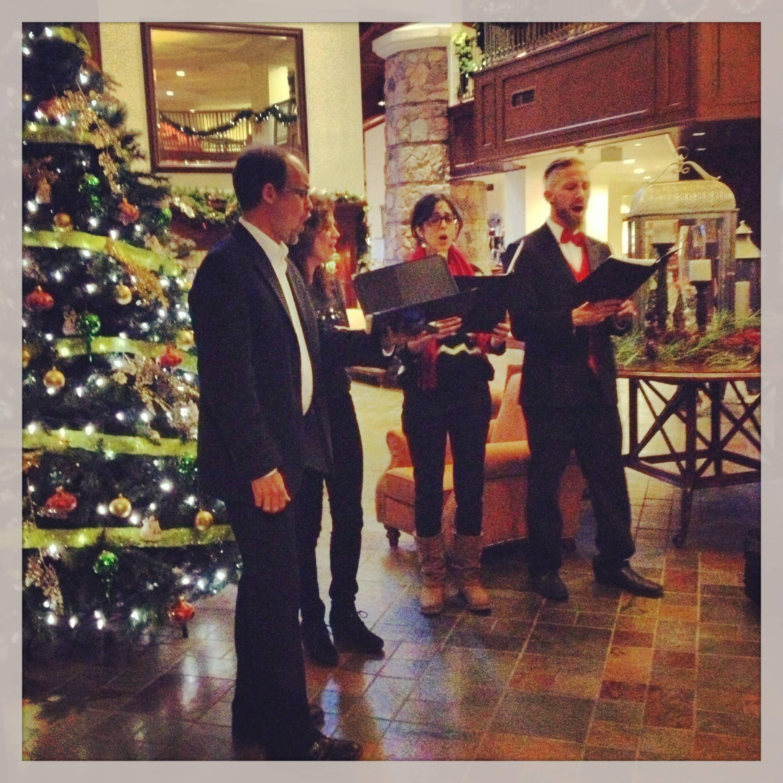 Christmas carolers at Deerhurst Lodge singing Christmas carols