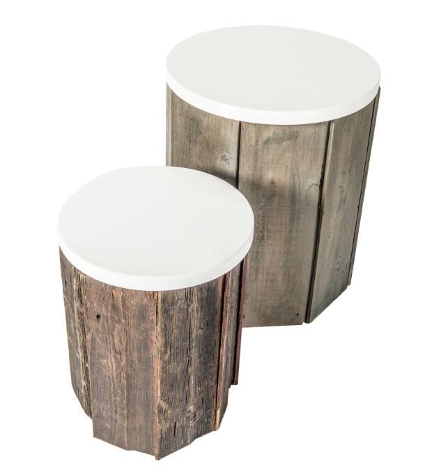 aly velji side table reclaimed wood