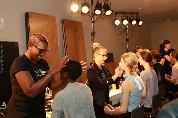 Hair makeup backstage at Erdem fashion show