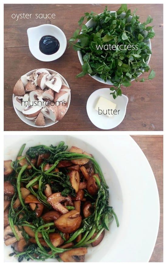 mushroom and watercress stir fry