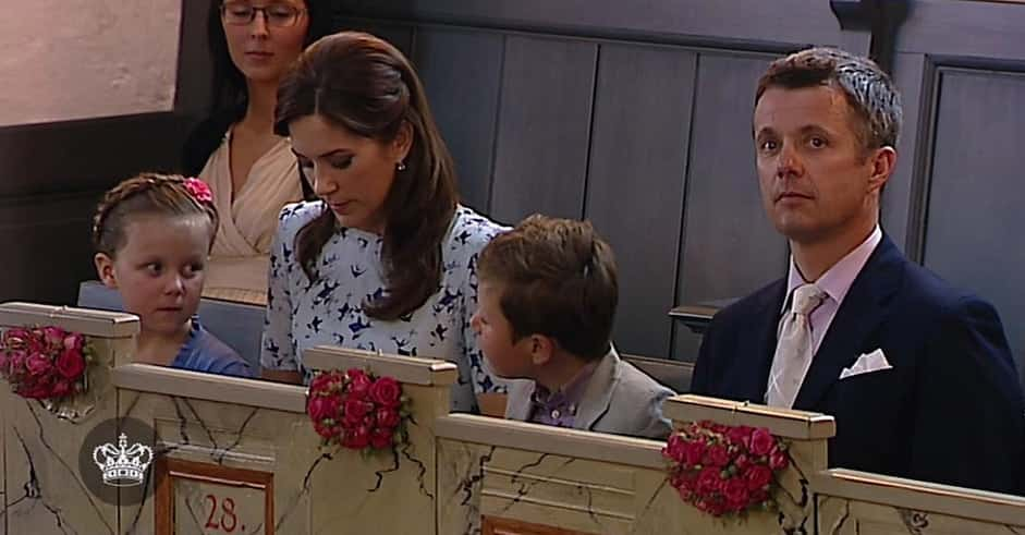 Princess Isabella and Prince Christian at their cousin's christening with their royal parents