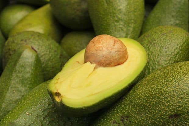 avocado open with pit