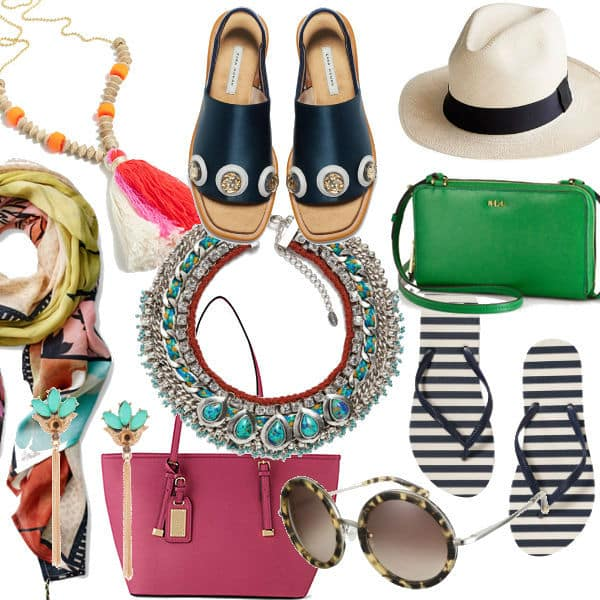 Packing for a beach vacation, accessories