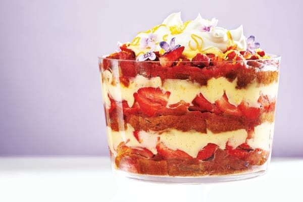 strawberry rhubabrb trifle