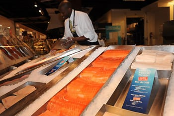 An empty fish tray at Loblaw indicates that Chilean Sea Bass is at risk.