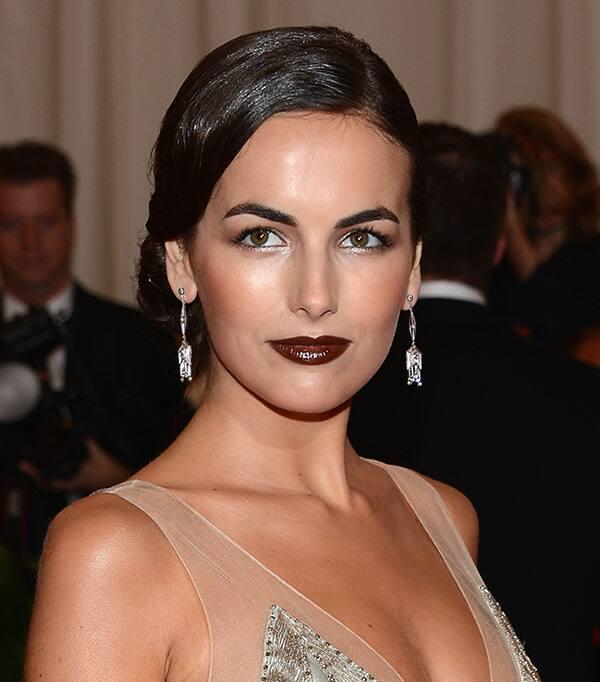 Camilla Belle wearing dark brown lipstick