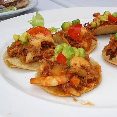 Beachside tastes better: Pulled pork, shrimp, avocado & tomato tostadas