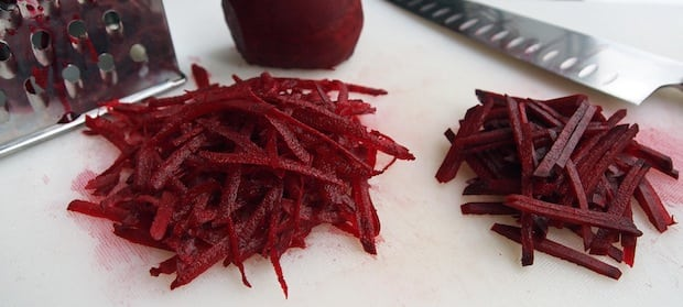grated and julienned raw beets