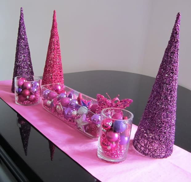 Christmas decorations pink and purple