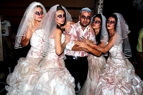 Zombie brides on Halloween
