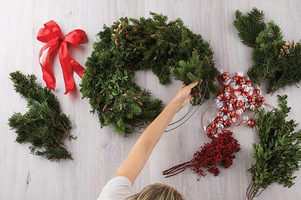 lindt door wreath