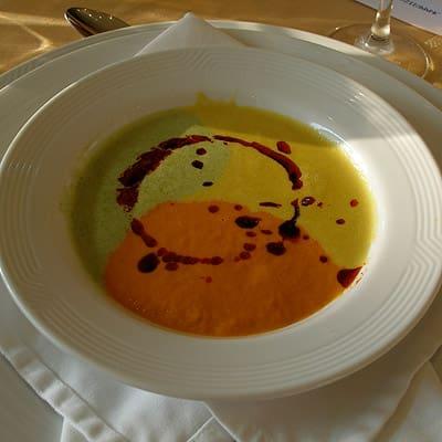 Tricolour squash soup at the Villa Premiere