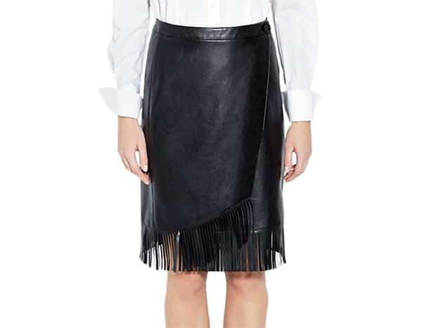 Pink Tartan leather fringe skirt