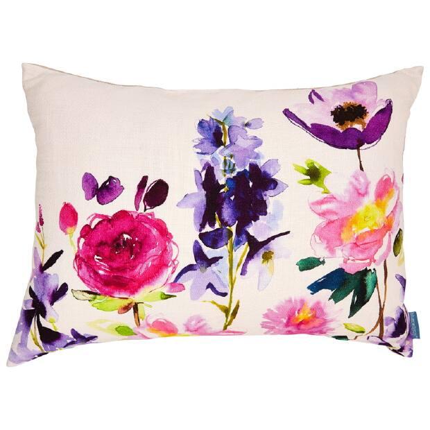 Indigo Watercolour floral printed cushion