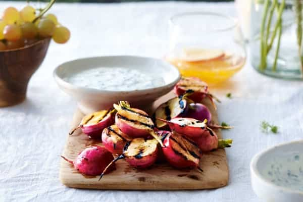 Grilled Radishes with Creamy Cilantro Dip
