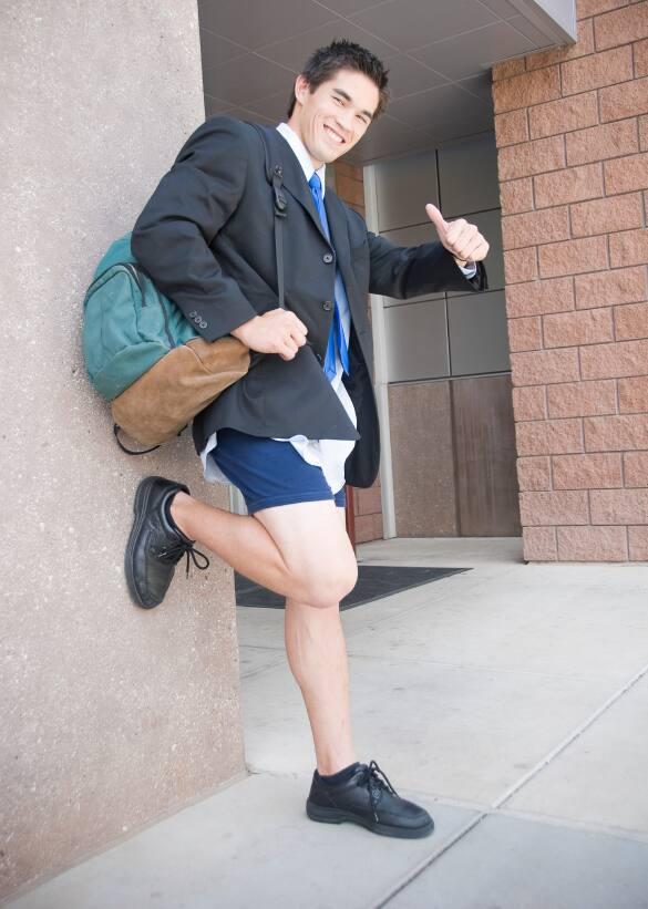 Boy in underwear at school