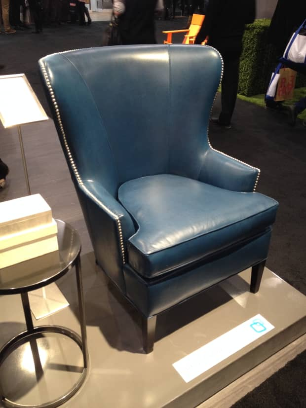 Brentwood Furniture teal leather wing chair