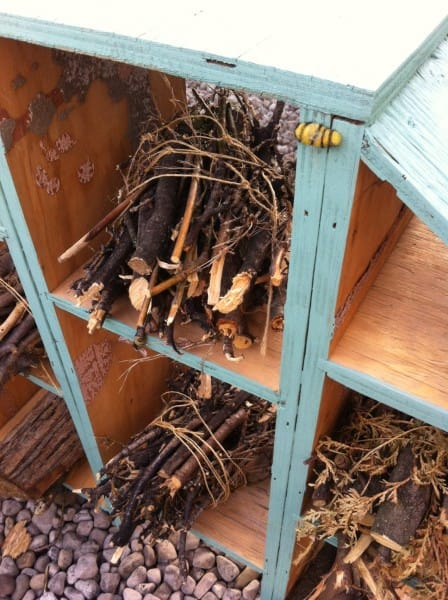 A close-up look at one of the bee hotel suites. (Photo via Gilean Watts.)
