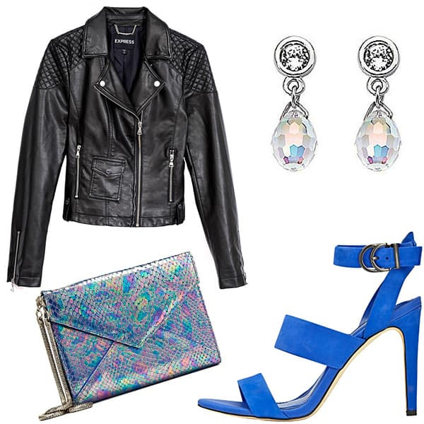 Leather jacket, clutch, earrings, strappy sandals