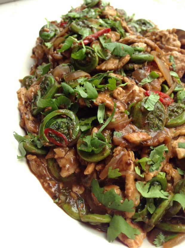 Pork, fiddlehead and black bean stir-fry
