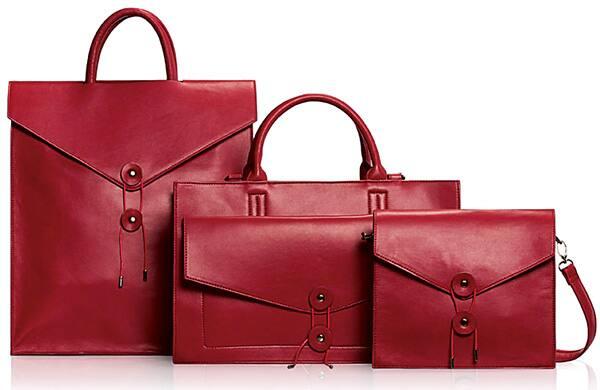 An image of Nella Bella handbags in red.