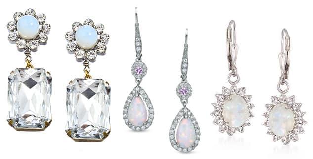 Three pairs of opal drop earrings