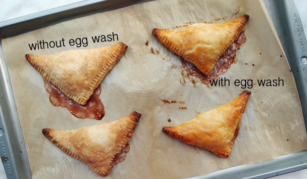 turnovers baked with egg wash and without