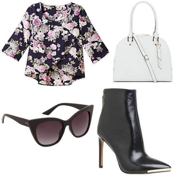 Blouse, handbag, booties, sunglasses