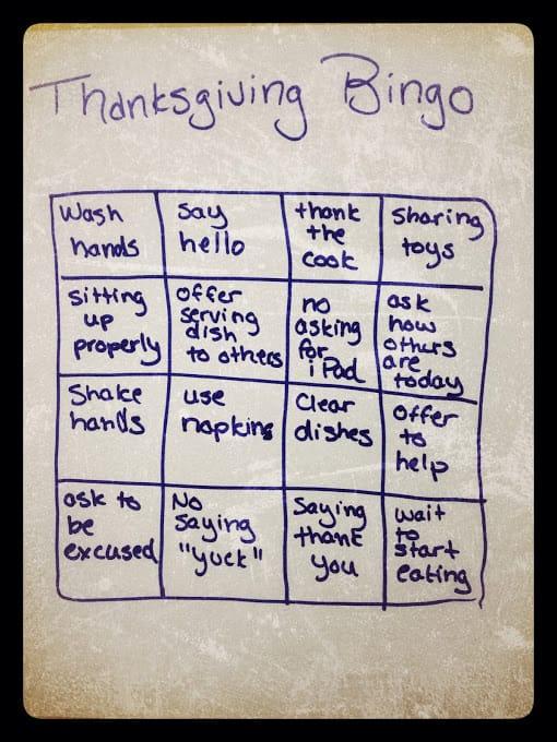 Thanksgiving bingo card for kids