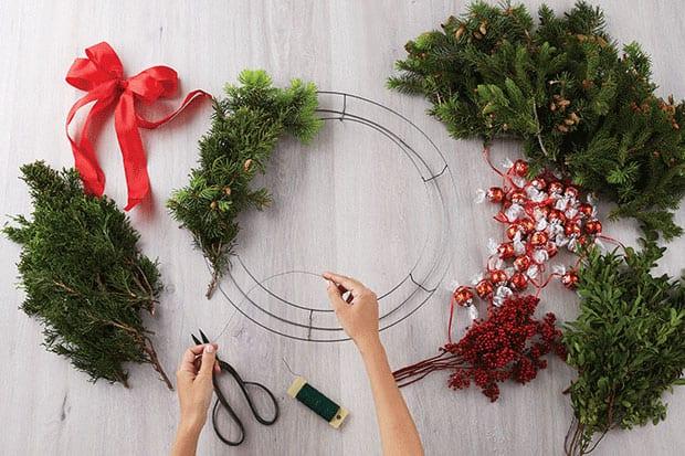 lindt wreath craft