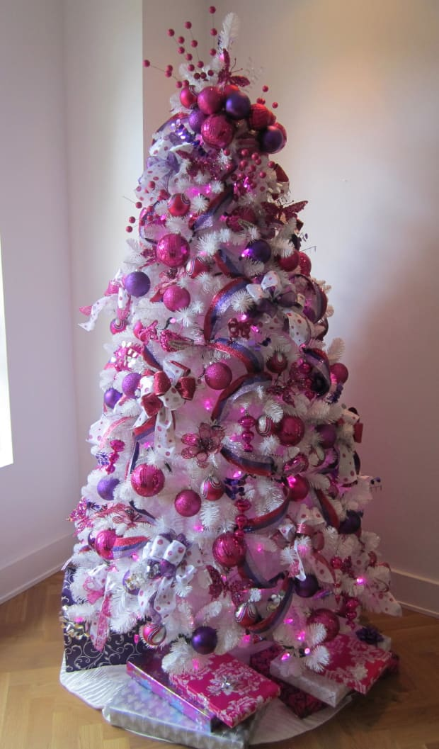 Christmas decorating with pink and purple