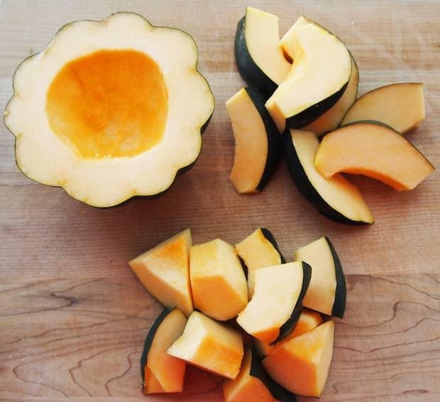 cut up acorn squash