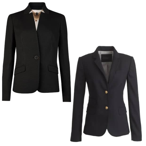 Two black blazers - best blazer for your body type