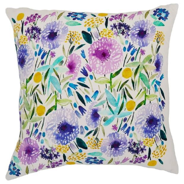 Indigo printed floral cushion