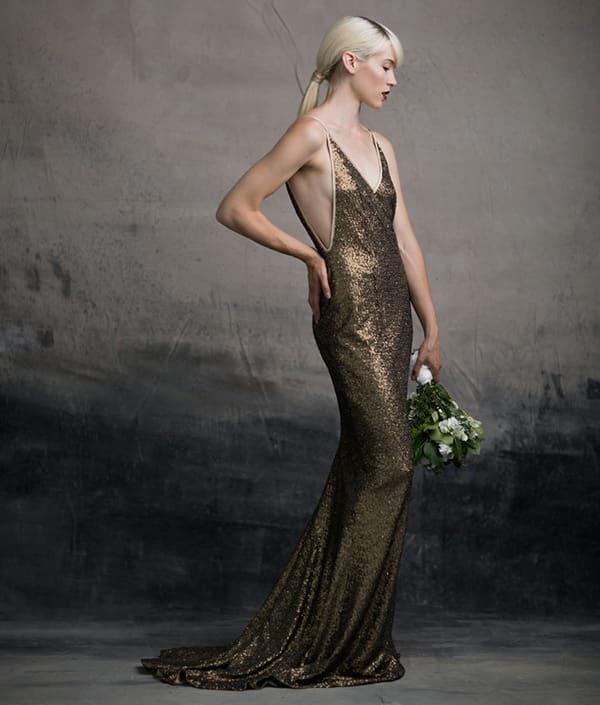 Gold sequin alternative wedding dress
