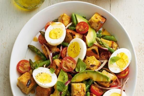 panzanella asparagus eggs