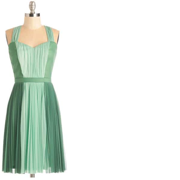 Modcloth green pleated plus-size dress
