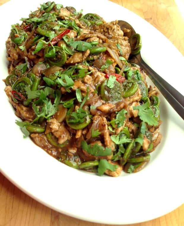 pork fiddlehead stir-fry